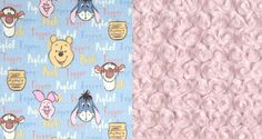 Winnie the Pooh Baby/Toddler/Child Blanket - Fleece Winnie the Pooh, Minky Ice Pink Rose Swirl, White Satin Trim - Baby Shower Gift by SimplySplendidCo on Etsy