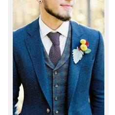 Luxurious woollen blue jacket with waistcoat and tie. Very smart. http://www.memysuitandtie.com/