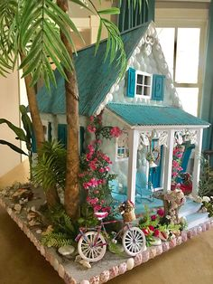 manualidades mdf The Sanibel Cottage Dollhouse Victorian Dollhouse, Diy Dollhouse, Dollhouse Furniture, Barbie Furniture, Dollhouse Miniatures, Miniature Crafts, Miniature Fairy Gardens, Miniature Houses, Doll House Plans