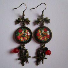 """Boucles d'oreille """"oiseau de russie"""" pendantes, cabochon bronze, bijoux fantaisie"""
