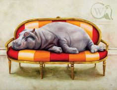 Hippo Pictures to Print | Tamus at Leisure (Hippo) – A3 | Whimsical Collection