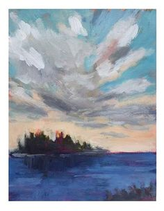 """Daily Paintworks - """"Island And Cloud"""" - Original Fine Art for Sale - © Suzanne Woodward"""