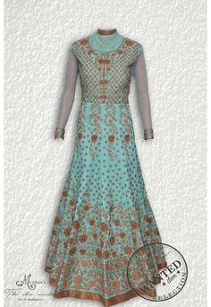 Exquisite aqua blue  ensemble adorn in pretty thread embroidery