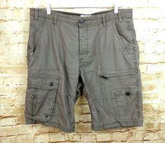 fcfa97b9e8 Next Mens Size 36 Utility Cargo Shorts Button Fly Gray Khaki Twill  Engineered #NEXT #