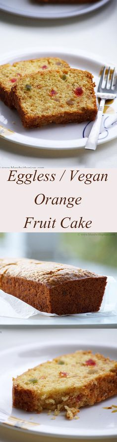 Eggless / Vegan Orange Fruit Cake Recipe with step by step recipe. blendwithspices.com