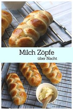 Delicious milk plaits made from yeast dough. Made quick and easy. They are prepared overnight in the fridge the next morning. For Sunday breakfast, afternoon coffee or for the Bentobox roll recipes backen backen rezepte bread bread bread Cooking Bread, Bread Baking, Cooking Kale, Cooking Pork, Bread Recipes, Cooking Recipes, Sunday Breakfast, Bread Bun, Galette