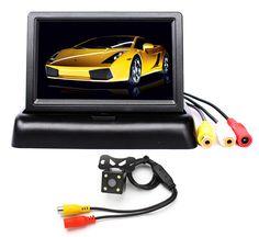 "High Resolution 4.3"" Color TFT LCD Folding Car Monitor + LED Night Vision Car Backup Rear View Parking Camera"