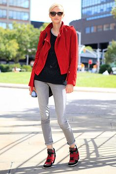 Inspiration for: red jacket, gray jeans.