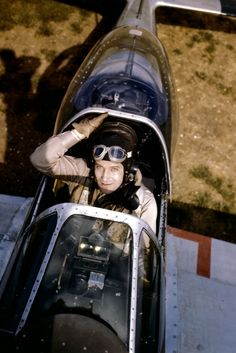 Don Blakeslee, ace of 4th Fighter Group, in the cockpit of his Mustang