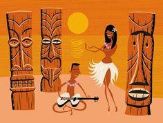 Hula and tiki and guitar. Décor Tiki, Tiki Art, Retro Kunst, Retro Art, Art Tropical, Tiki Decor, Tiki Lounge, Hawaiian Art, Hawaiian Decor