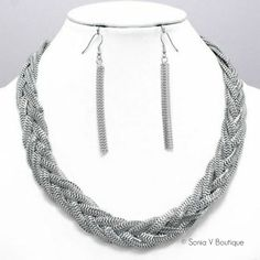 Braided Necklace Set – Available in Silver, Gold or Rose Gold - Sonia V Boutique