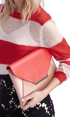 Coral & blush colorblocked envelope clutch