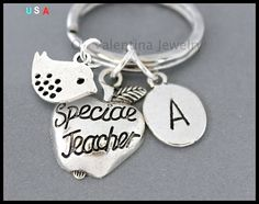 INITIAL / DOVE / Special TEACHER Key Ring  by OhValentinaJewelry