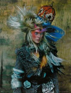 Inspiring December 2002 German Vogue editorial photographed by Ruven Afanador with hair by John Sahag. Tribal Fashion, Fashion Art, New Fashion, Editorial Fashion, Crazy Fashion, Asian Fashion, High Fashion Photography, Editorial Photography, Vogue Photography