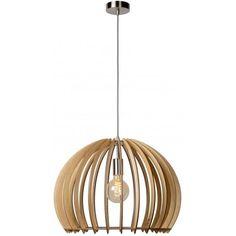 Drewniana lampa wisząca Bounde marki Lucide. https://blowupdesign.pl/pl/31-wiszace-stojace-lampy-drewniane-design-skandynawski #lampydrewniane #lampywiszące #oświetlenienadstołem #lampykule #woodenlamps #woodenlighting #lighting