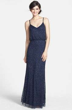 Free shipping and returns on Adrianna Papell Sequin Gown at Nordstrom.com. Scalloped lines of iridescent, metallic beads and sequins accentuate the sheer-mesh overlay of a floor-length gown.