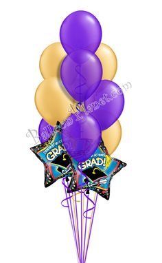 Purple & Silver Grad Balloon Bouquet (12 Balloons) Burgundy And Gold, Purple Gold, Green And Gold, Blue And Silver, Graduation Balloons, Graduation Day, Birthday Balloons, Grad Parties, Birthday Parties