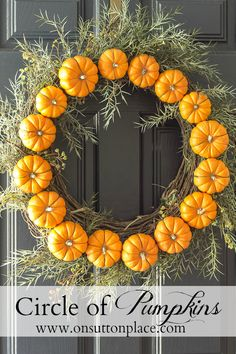 Make this Circle Pumpkin Wreath in less than 30 minutes. All you need is wire, pumpkins and (of course) a wreath!