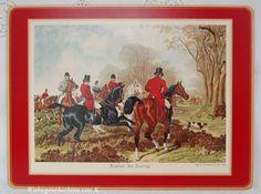 Sechs wunderschöne alte Platzsets im englischen Landhausstil.  Es sind vier unterschiedliche Motive, die jeweils eine feine Jagdgesellschaft aus de...