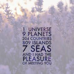 """""""1 universe, 9 planets, 204 countries, 809 islands, 7 seas and I had the pleasure of meeting you"""" 