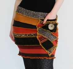crazy patchwork skirt made from recycled sweaters Alter Pullover, Recycled Sweaters, Old Sweater, Knit Skirt, Sweater Skirt, Altered Couture, Creation Couture, Diy Fashion, Fashion Design
