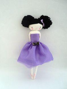 Bailarina muñeca de tela con tutu lila ballet por lassandaliasdeana, $40.00