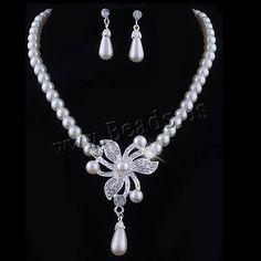 Ensembles de bijoux de mariée, boucle d'oreille & collier, perle de plastique, avec alliage de zinc, avec 1.9Inch chaînes de rallonge, fleur, Placage de couleur argentée, pour mariée & avec strass, protéger l'environnement, sans nickel, plomb et cadmium, 75x45mm,20x10mm, Longueur:Environ 15.7 pouce, 12ensemblessérie/lot, Vendu par lot,perles bijoux en gros de Chine