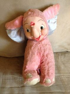 Vintage Rushton Pullan Stuffed Plush Pink Elephant Rubber Face Doll | eBay