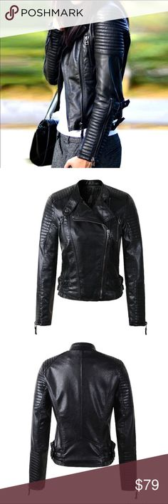 """Biker Faux Soft Leather Jackets Biker Faux Soft Leather Jackets. Motorcycle Black Zipper Coat Streetwear. Worn once. In great condition.  Size: Medium Chest: 34.6"""" Shoulder: 15"""" Sleeve: 23.4"""" Length: 20.5""""  Feel free you make my a REASONABLE offers!💕.    If you have any question, please feel free to do it.    Thank you for looking and please check out the rest of my closet🎀 Jackets & Coats"""