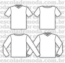 Moldes de t-shirts infantis com gola V e canoa