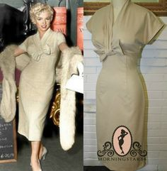 Pinup+Beige+Wiggle+DressNBLSB+Bow+Bust1950s+by+Morningstar84,+$210.00