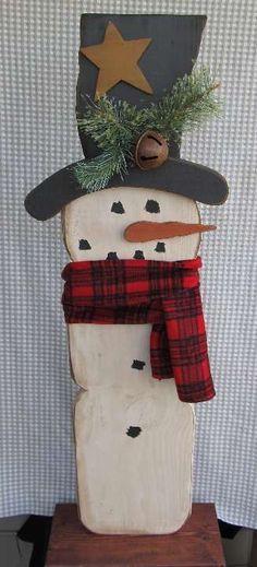 Wood Snowman #WoodCraftsSnowman