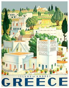 Tourism Poster - 1949 Vintage travel poster of island of Andros Greece designed by G. Moschos, travel poster of island of Andros Greece designed by G. Retro Poster, Poster Ads, Advertising Poster, Poster Prints, Poster Vintage, Illustrations Vintage, Illustrations Posters, Andros Greece, Old Posters