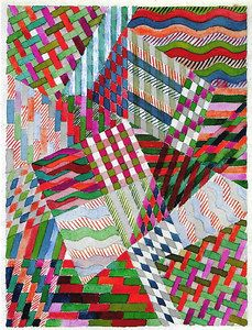 """Design for a detail of   """"Slit Tapestry Red-Green""""   1927/28   31x24 cm  Private collection"""