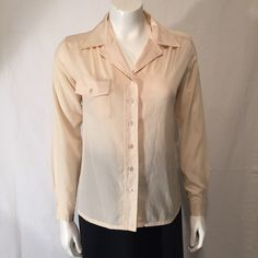 Irka by Bern Conrad Cream Silk Polyester Long Sleeve LS 70s Seventies Pointed Collar Blouse Shirt Size Small S by CarolinaThriftChick on Etsy $19.99