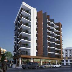 Building Facade, Building Design, Green Architecture, Architecture Design, Hillside Apartments, Construction Design, Brutalist, Floor Plans, Exterior