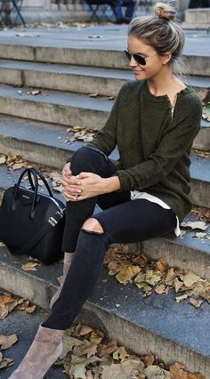#cute #outfits Army Sweater // Black Destroyed Jeans // Suede Booties // Black Leather Tote Bag