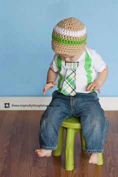 Green Plaid Boy Tie Onesie or Shirt with Suspenders - Size nb to 12 yrs - or PICK YOUR OWN. $18.00, via Etsy.