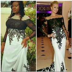 Prom dress Heavy material, white dress with black lace Dresses Prom