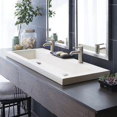 Trough Sink Bathroom, Drop In Bathroom Sinks, Steam Showers Bathroom, Vanity Sink, Bathroom Faucets, Master Bathroom, Bath Fixtures, Bathroom Cost, Bathroom Green