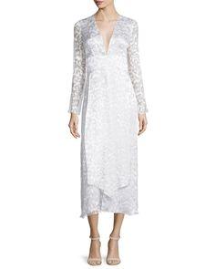 Cushnie et Ochs Long-Sleeve Plunging-Neck Midi Dress, Soft White