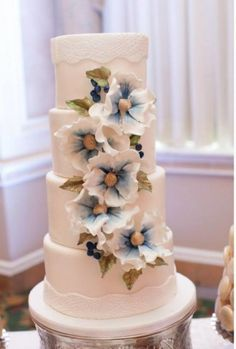 Something Blue - Cake by Sophie Bifield Cake Company Pretty Wedding Cakes, Floral Wedding Cakes, Themed Wedding Cakes, Floral Cake, Wedding Cake Designs, Pretty Cakes, Gorgeous Cakes, Amazing Cakes, Fondant
