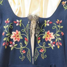 Vintage Norwegian Bunad Folk Dress with Solje Brooch Folk Embroidery, Cross Stitch Embroidery, Scandinavian Embroidery, Chicken Scratch Embroidery, Frozen Costume, Princess Aesthetic, Blue Wool, Floral Tops, Floral Design