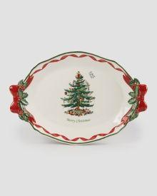 "Christmas Tree Oval Platter - 14"""