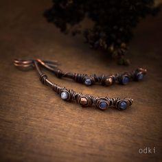 sodalite earrings - curved copper earrings - wire wrapped stone beads - dark oxidized - aged - rustic earrings - tribal - blue earrings by odki on Etsy