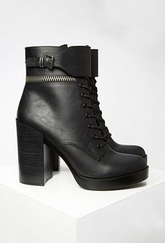 Faux Leather Lace-Up Booties - Womens shoes and boots | shop online | Forever 21 - 2000157090 - Forever 21 EU English