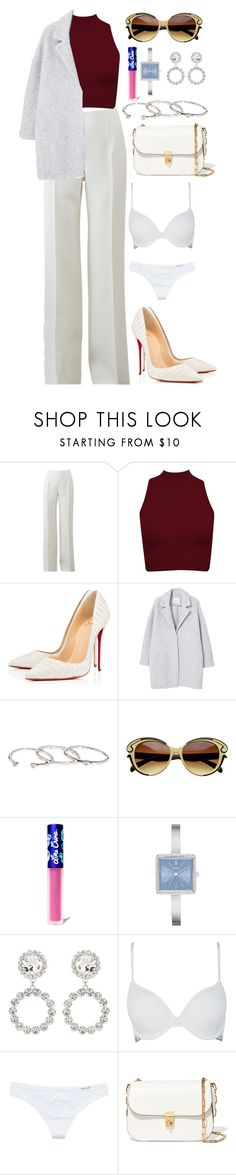 """// 01 . 04 . 17 . //"" by alicefalina ❤ liked on Polyvore featuring Michael Kors, Christian Louboutin, MANGO, Gorjana, Lime Crime, DKNY, Alessandra Rich, Calvin Klein, Aerie and Valentino"