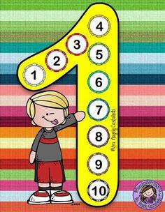 Tafel van 1 Math Board Games, Math Games, Math Activities, Math Blocks, School Painting, Kids Math Worksheets, Classroom Rules, Maria Jose, Math For Kids