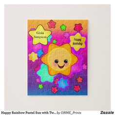 Happy Rainbow Pastel Sun with Twinkle Stars Jigsaw Puzzle #Onmeprints #Zazzle #Zazzlemade #Zazzlestore #Happy #Rainbow #Pastel #Sun #Twinkle #Stars #Jigsaw #Puzzle Puzzles For Kids, Jigsaw Puzzles, Rainbow Pastel, Rainbow Colors, Twinkle Star, Twinkle Twinkle, Make Your Own Puzzle, Custom Gift Boxes, Puzzles