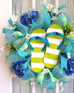 Mesh Wreath Lime Blue Stripe Flip Flops from Southern Charm pool party decor!